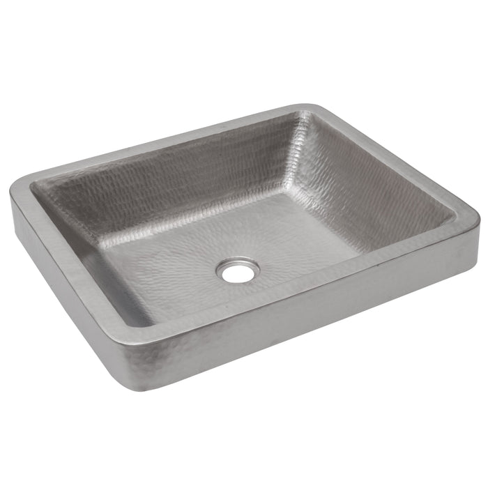 "Premier Copper Products 19"" Rectangle Skirted Vessel Hammered Copper Sink in Nickel-DirectSinks"