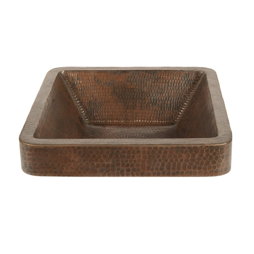 "Premier Copper Products 15"" Square Skirted Vessel Hammered Copper Sink-DirectSinks"