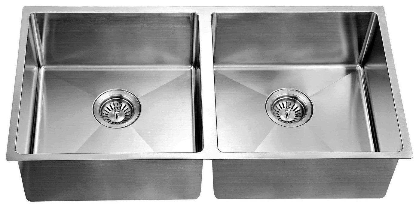 Dawn Undermount Extra Small Corner Radius Equal Double Bowls Kitchen Sinks-Kitchen Sinks Fast Shipping at DirectSinks.
