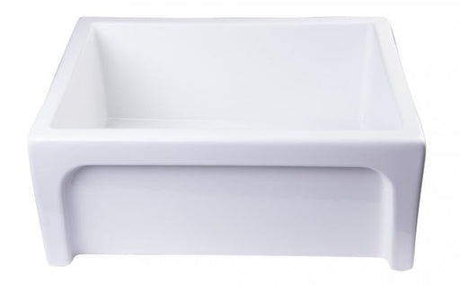 "AB2418ARCH 24"" Arched Apron Thick Wall Fireclay Single Bowl Farm Sink-DirectSinks"