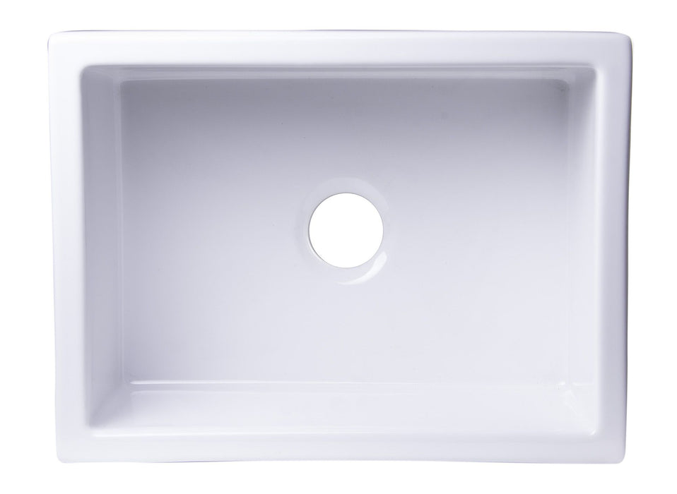 ALFI brand AB2418UM 24x18 Undermount Fireclay Kitchen Sink In White Or Biscuit