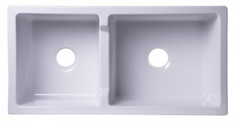 "AB3618DB-W 36"" White Smooth Thick Wall Fireclay Double Bowl Farm Sink-DirectSinks"