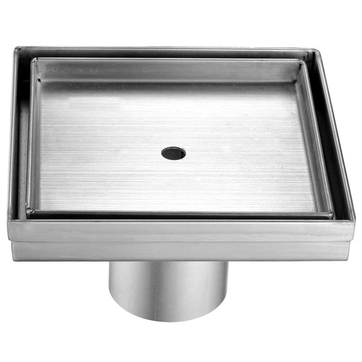 "ALFI brand ABSD55A 5"" x 5"" Modern Square Stainless Steel Shower Drain w/o Cover-DirectSinks"