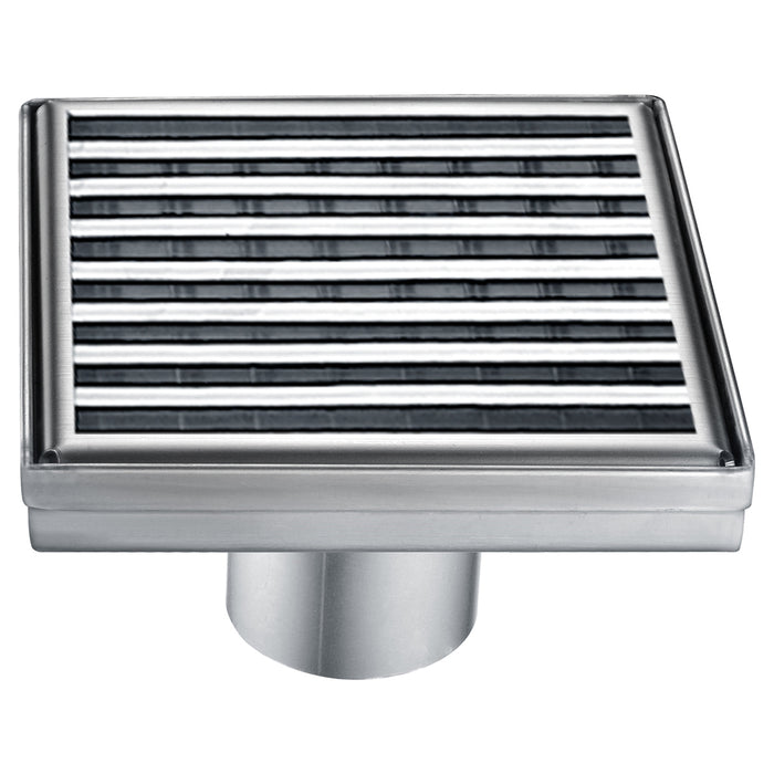 "ALFI brand ABSD55D 5"" x 5"" Square Stainless Steel Shower Drain with Groove Lines"