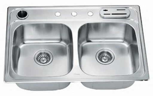 "33"" Double Bowl Topmount 20 Gauge Stainless Steel Kitchen Sink-Kitchen Sinks Fast Shipping at DirectSinks."