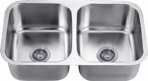 "31"" Double Bowl Undermount 18 Gauge Stainless Steel Kitchen Sink-Kitchen Sinks-DirectSinks"