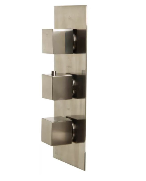 AB2901-PC Polished Chrome Concealed 3-Way Thermostatic Valve Shower Mixer /w Square Knobs-DirectSinks