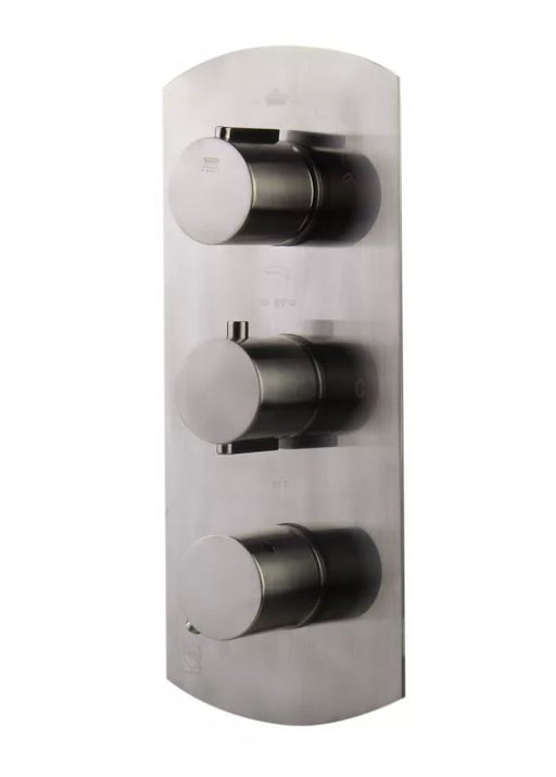 AB4101-PC Polished Chrome Concealed 3-Way Thermostatic Valve Shower Mixer /w Round Knobs-DirectSinks