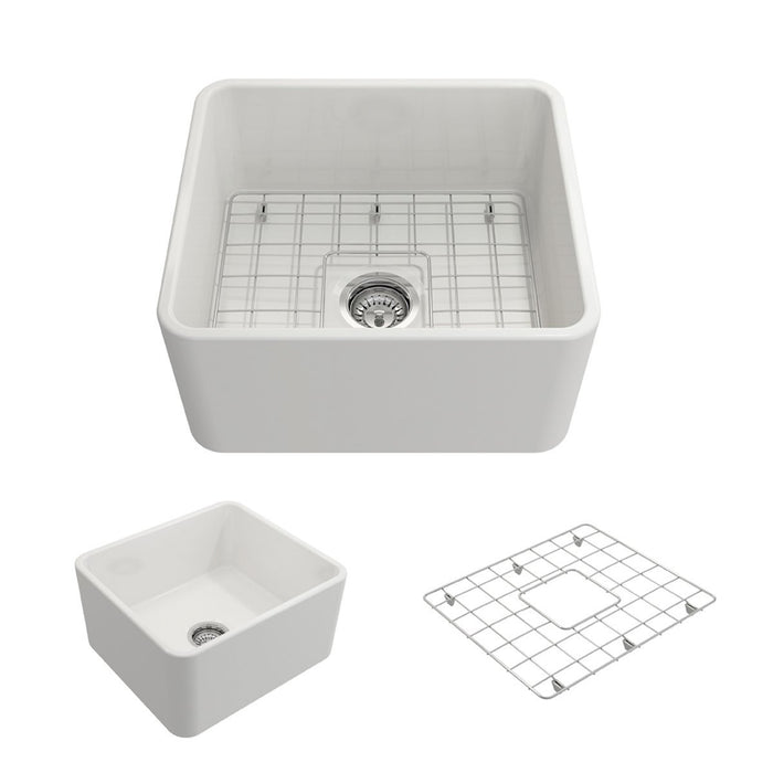 Bocchi Classico Farmhouse Apron Front Fireclay 20-Inch Single Bowl Kitchen Sink with Protective Bottom Grid and Strainer, Available in 9 colors!-DirectSinks