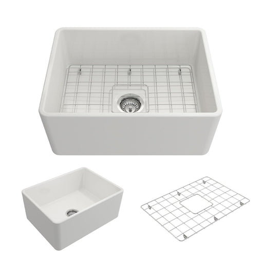 Bocchi Classico Farmhouse Apron Front Fireclay 24-Inch Single Bowl Kitchen Sink with Protective Bottom Grid and Strainer, Available in 9 colors!-DirectSinks
