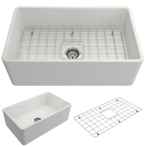 Bocchi Classico Farmhouse Apron Front Fireclay 30-Inch Single Bowl Kitchen Sink with Protective Bottom Grid and Strainer, Available in 9 colors!-DirectSinks