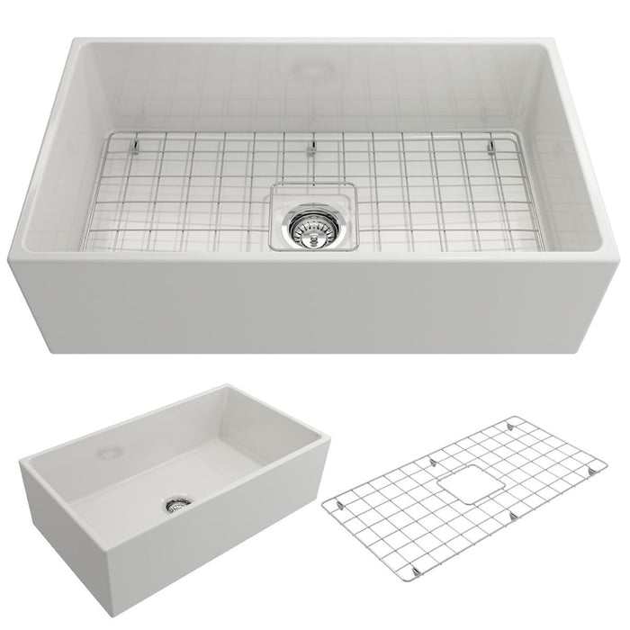 Bocchi Contempo Apron Front Fireclay 33-Inch Single Bowl Kitchen Sink with Protective Bottom Grid and Strainer, Available in 9 colors!-DirectSinks