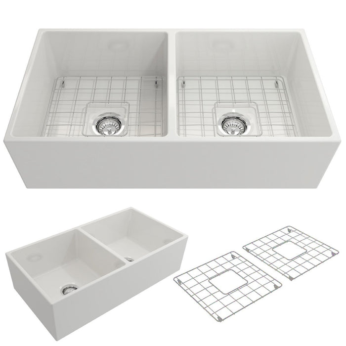 Bocchi Contempo Apron Front Fireclay 36-Inch Double Bowl Kitchen Sink. Available in 9 Colors!-Kitchen Sinks-DirectSinks