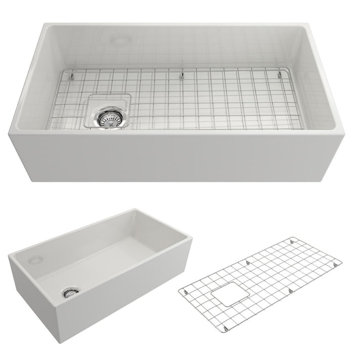Bocchi Contempo Apron Front Fireclay 36-Inch Single Bowl Kitchen Sink with Protective Bottom Grid and Strainer, Available in 9 colors!-DirectSinks