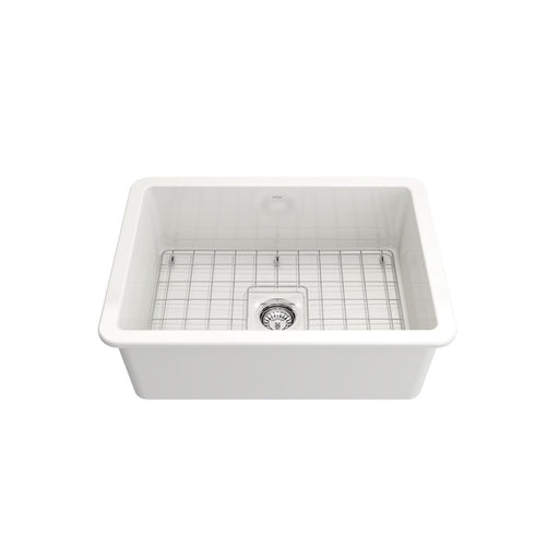 Bocchi Sotto Undermount Fireclay 27-Inch Single Bowl Kitchen Sink with Protective Bottom Grid and Strainer, Available in 9 colors!-DirectSinks