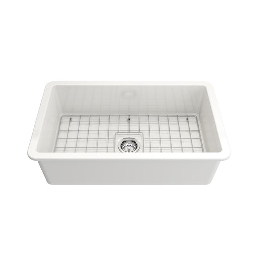 Bocchi Sotto Undermount Fireclay 32-Inch Single Bowl Kitchen Sink with Protective Bottom Grid and Strainer, Available in 9 colors!-DirectSinks
