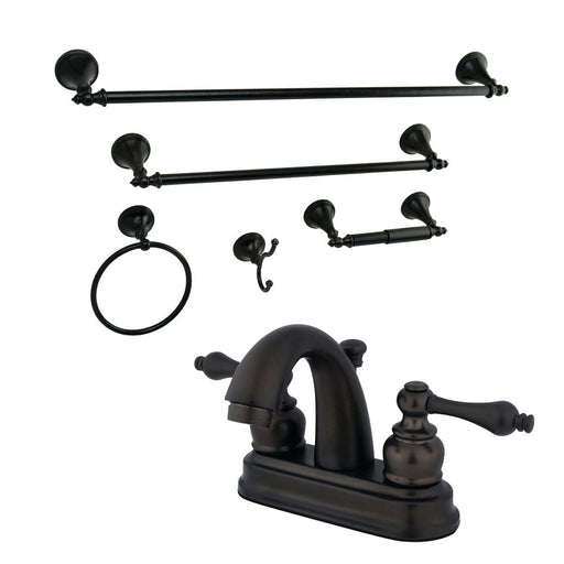Kingston Brass 4-Inch Bathroom Faucet with 5-Piece Bathroom Hardware Combo-DirectSinks