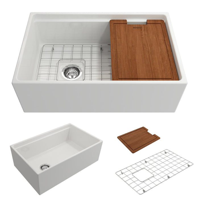Bocchi Contempo Apron Front Step Rim Fireclay 30-Inch Single Bowl Kitchen Sink with Cutting Board. Available in 9 Colors!-Kitchen Sinks-DirectSinks