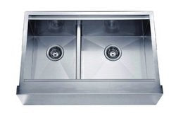 "Dawn DAF3321L 33"" Double Bowl Apron Front Stainless Steel Sink-Kitchen Sinks Fast Shipping at DirectSinks."