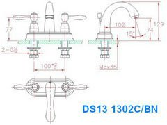 Dawn DS131302 Double Handle Lavatory Faucet-Bathroom Faucets Fast Shipping at DirectSinks.