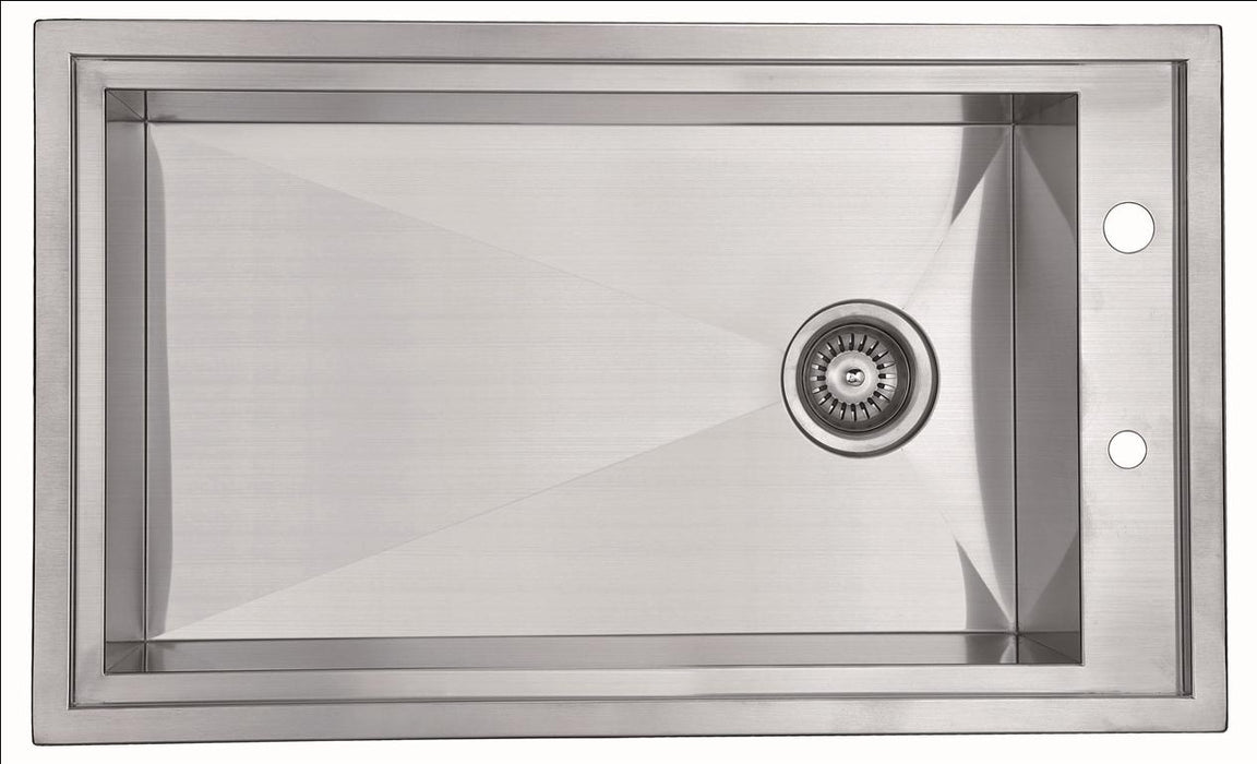 "32"" Single Bowl Dual Mount 18 Gauge Stainless Steel Kitchen Sink-Kitchen Sinks-DirectSinks"