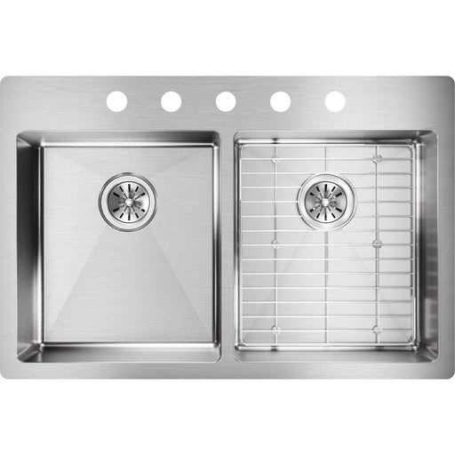 "Elkay 33"" x 22"" x 6"" Crosstown Stainless Steel Equal Double Bowl Dual Mount ADA Sink Kit"
