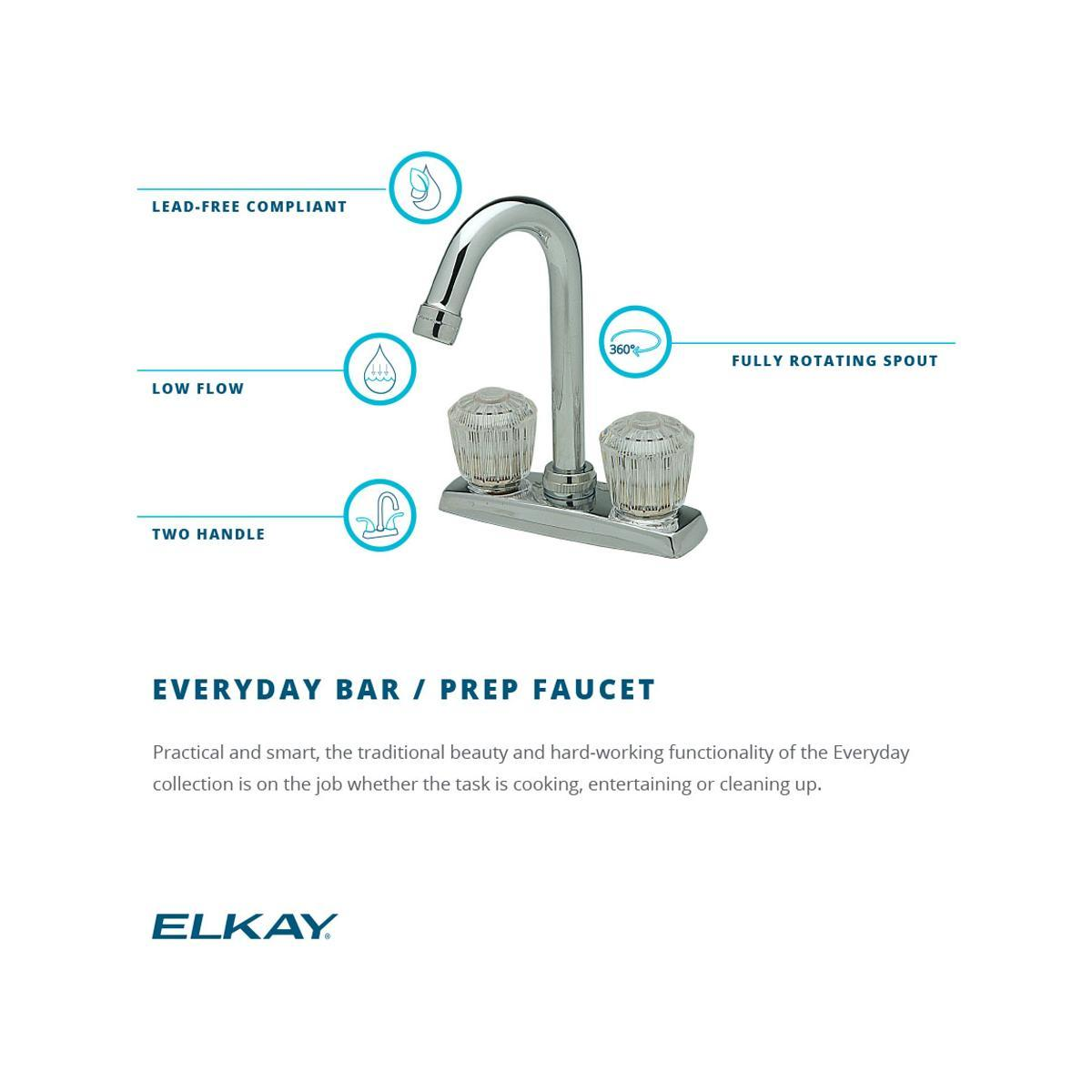 "Elkay 4"" Centerset Deck Mount Faucet with Gooseneck Spout and Clear Crystalac Handles Chrome-DirectSinks"