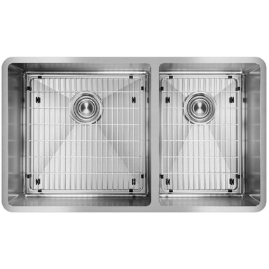 "Elkay Crosstown Stainless Steel 31-1/2"" x 18-1/2"" x 9"", 60/40 Double Bowl Undermount Sink Kit-DirectSinks"