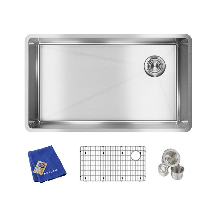 "Elkay Crosstown Stainless Steel 31-1/2"" x 18-1/2"" x 9"", Single Bowl Undermount Sink Kit-DirectSinks"