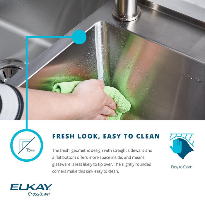 "Elkay Crosstown Stainless Steel 32-1/2"" x 20-1/2"" x 9"", Offset Double Bowl Undermount Sink Kit with Water Deck-DirectSinks"