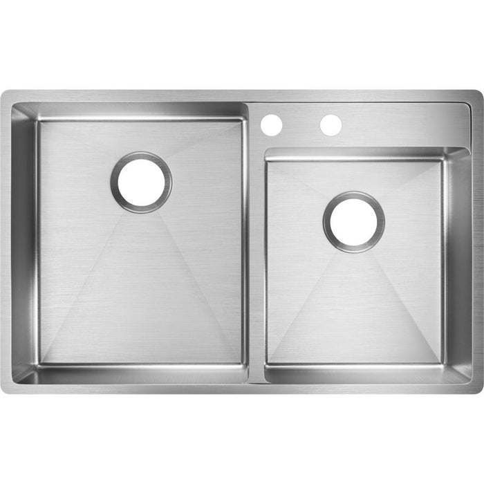 "Elkay Crosstown Stainless Steel 32-1/2"" x 20-1/2"" x 9"", Offset Double Bowl Undermount Sink with Water Deck-DirectSinks"