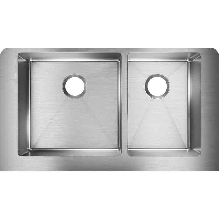 "Elkay Crosstown Stainless Steel 35-7/8"" x 20-1/4"" x 9"", 60/40 Double Bowl Farmhouse Sink-DirectSinks"