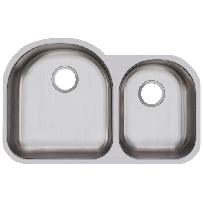 "Elkay Dayton Stainless Steel 31-1/4"" x 20"" x 8"", Offset 60/40 Double Bowl Undermount Sink-DirectSinks"