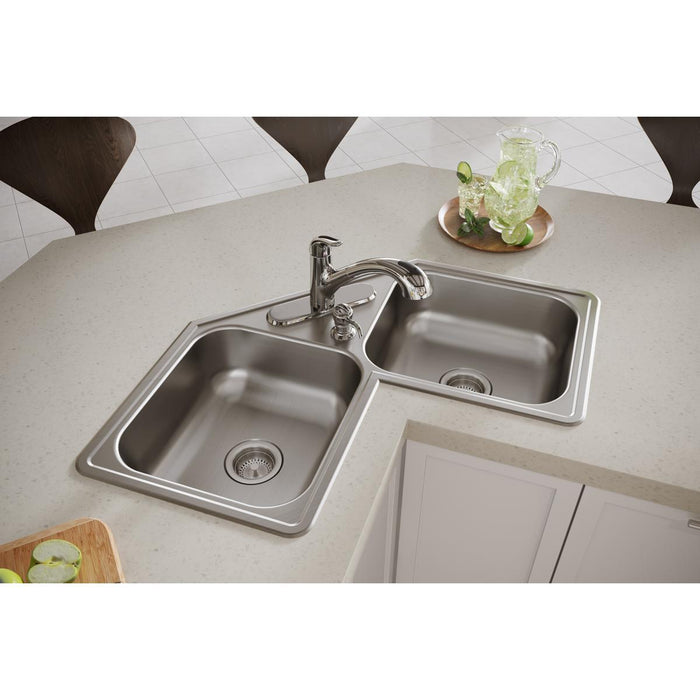 "Elkay Dayton Stainless Steel 31-7/8"" x 31-7/8"" x 7"", Equal Double Bowl Corner Sink-DirectSinks"