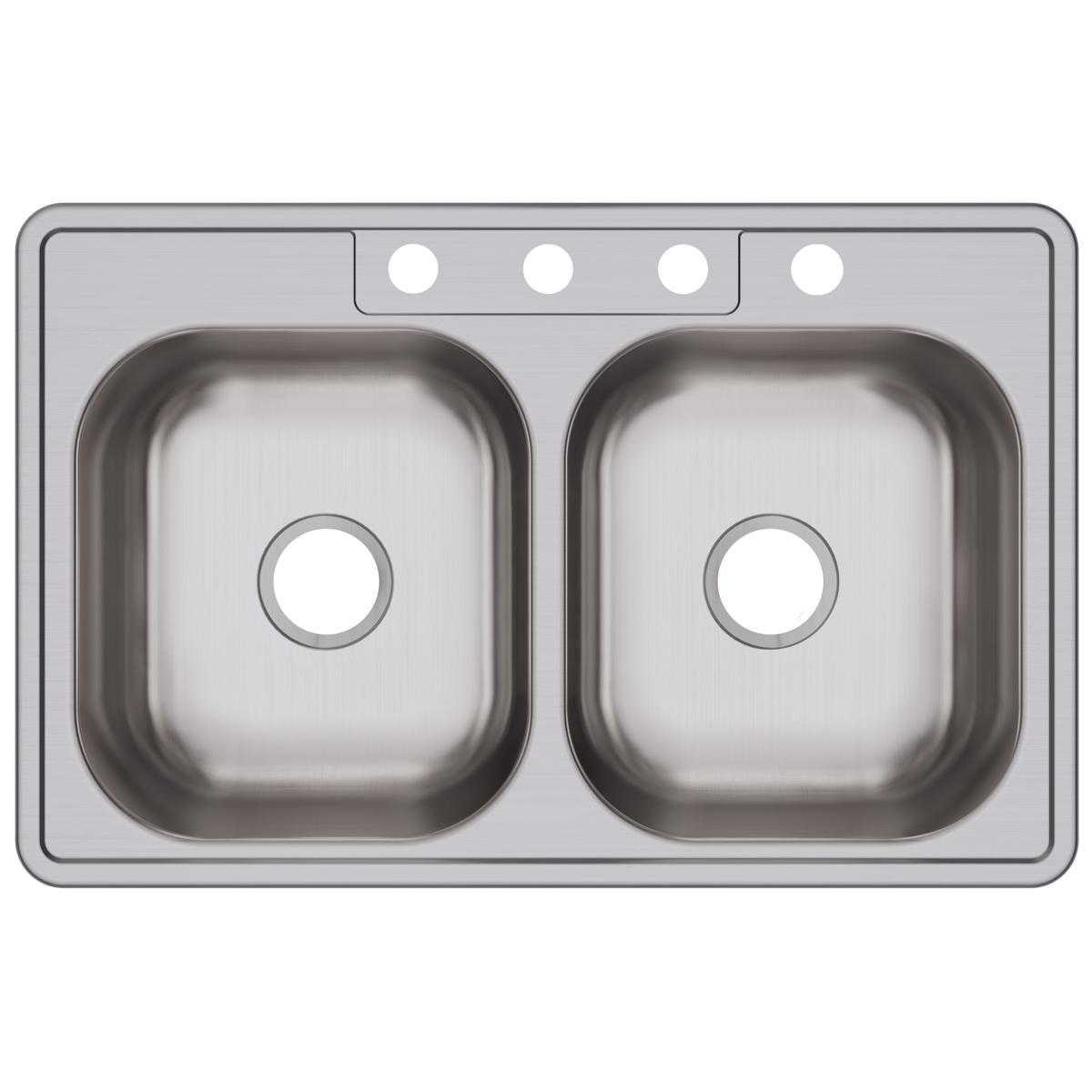 "Elkay Dayton Stainless Steel 33"" x 21-1/4"" x 6-9/16"", Equal Double Bowl Drop-in Sink-DirectSinks"