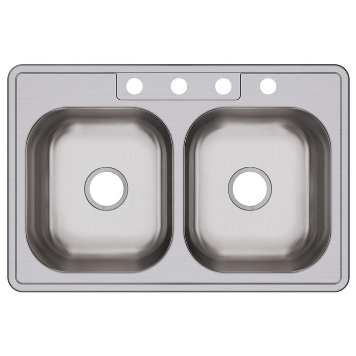 "Elkay Dayton Stainless Steel 33"" x 22"" x 8-1/16"", Equal Double Bowl Drop-in Sink-DirectSinks"