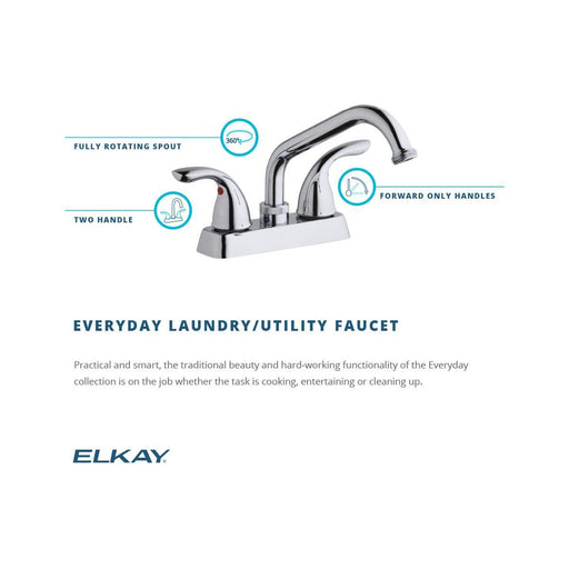 Elkay Everyday Laundry/Utility Deck Mount Faucet and Lever Handles Chrome-DirectSinks