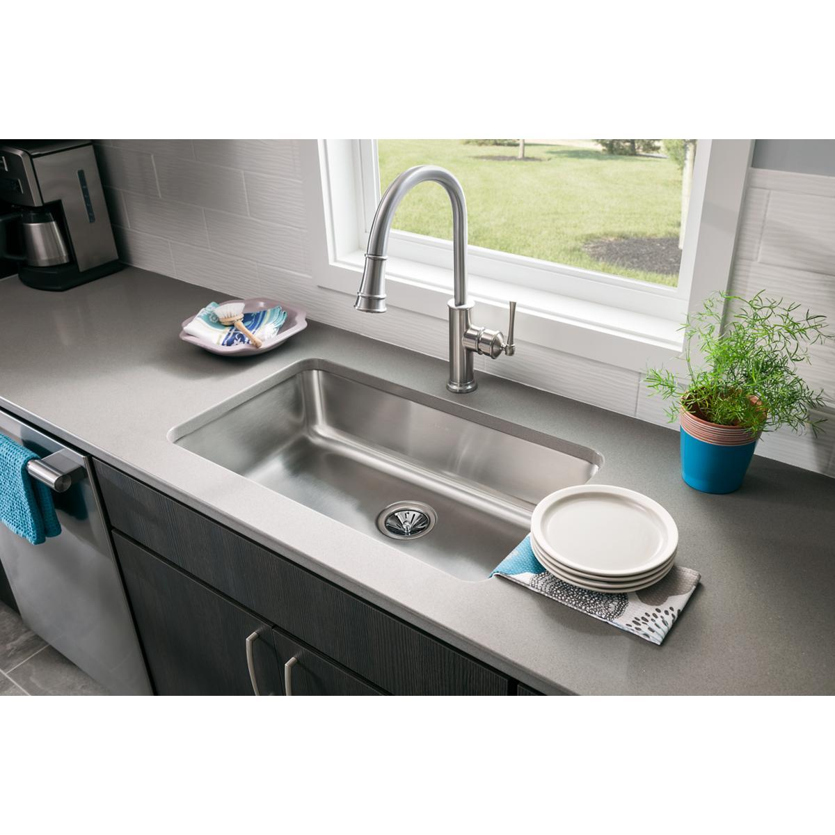Elkay Explore Single Hole Kitchen Faucet with Pull-down Spray and Forward Only Lever Handle-DirectSinks