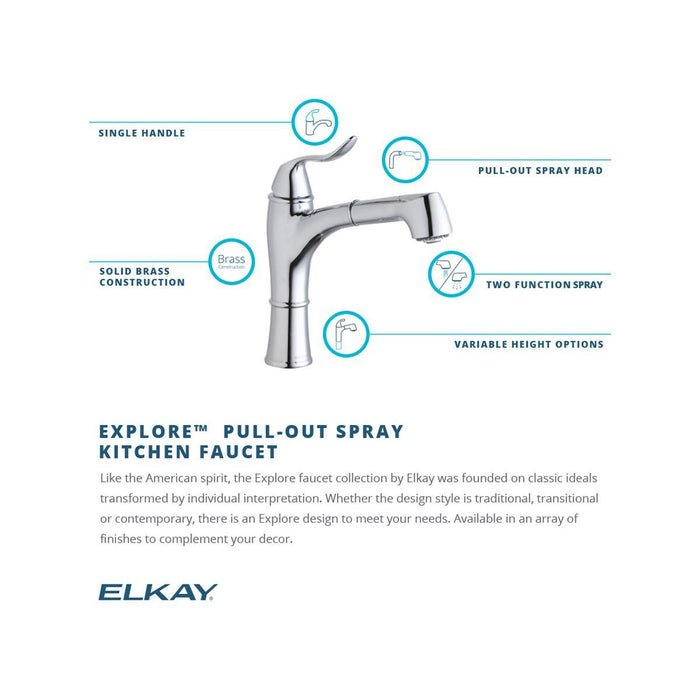 Elkay Explore Single Hole Kitchen Faucet with Pull-out Spray Lever Handle with Hi and Mid-rise Base Options-DirectSinks
