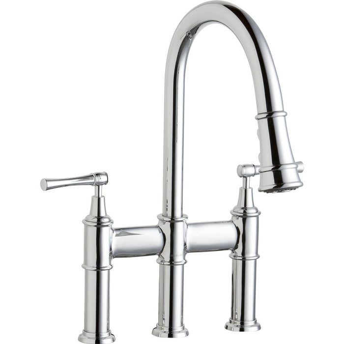 Elkay Explore Three Hole Bridge Faucet with Pull-down Spray and Lever Handles-DirectSinks