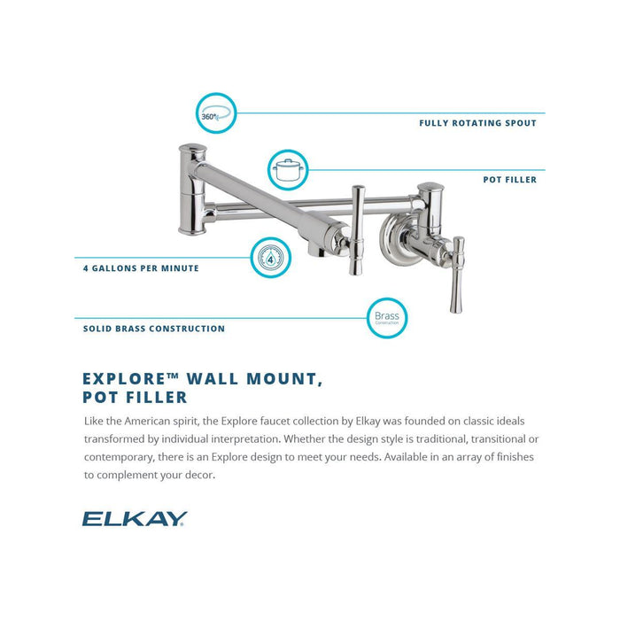 Elkay Explore Wall Mount Single Hole Pot Filler Kitchen Faucet with Lever Handles-DirectSinks