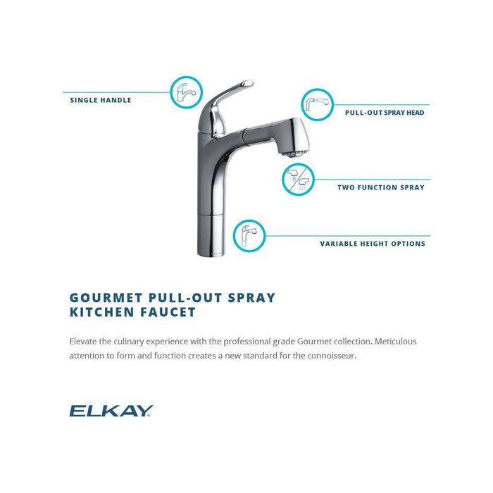 Elkay Gourmet Single Hole Kitchen Faucet Pull-out Spray and Lever Handle with Hi and Mid-rise Base Options-DirectSinks