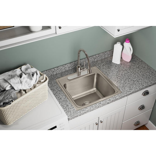 "Elkay Lustertone Classic Stainless Steel 19-1/2"" x 19"" x 10-1/8"", Single Bowl Drop-in Laundry Sink-DirectSinks"