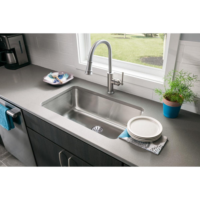 "Elkay Lustertone Classic Stainless Steel 30-1/2"" x 18-1/2"" x 10"", Single Bowl Undermount Sink with Perfect Drain-DirectSinks"