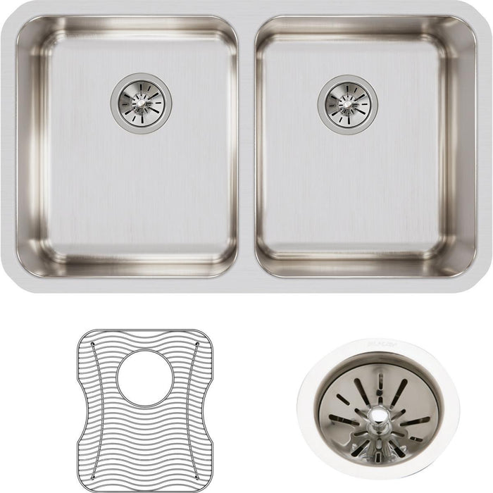 "Elkay Lustertone Classic Stainless Steel, 30-3/4"" x 18-1/2"" x 7-7/8"", Equal Double Bowl Undermount Sink Kit-DirectSinks"