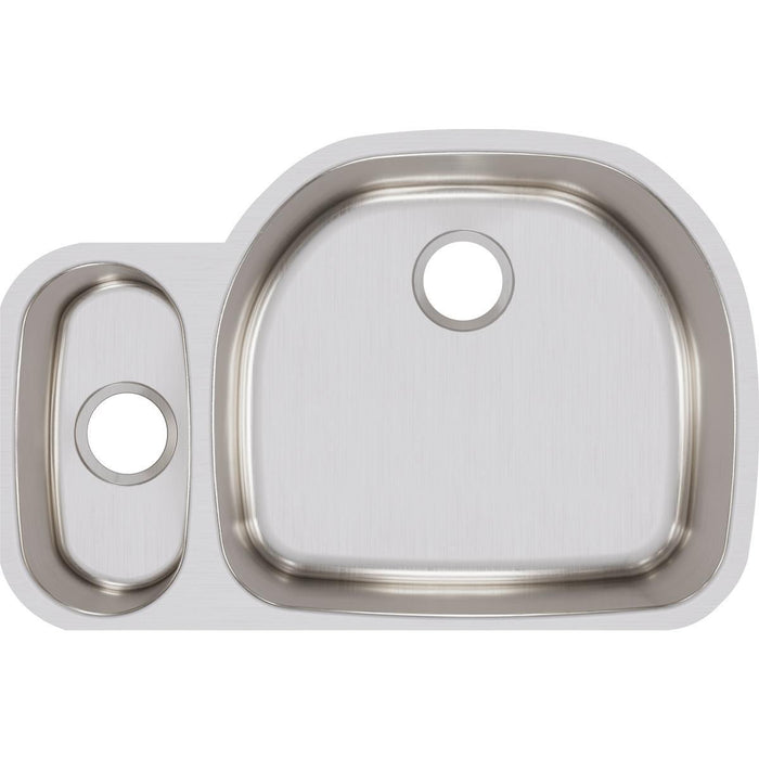 "Elkay Lustertone Classic Stainless Steel, 31-1/2"" x 21-1/8"" x 7-1/2"", 30/70 Offset Double Bowl Undermount Sink-DirectSinks"