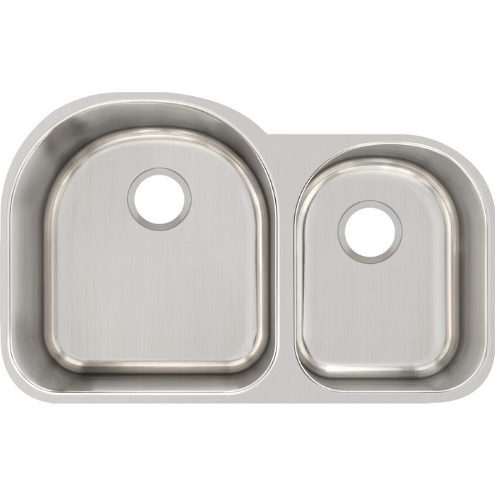 "Elkay Lustertone Classic Stainless Steel 31-1/4"" x 20"" x 10"", Offset 60/40 Double Bowl Undermount Sink-DirectSinks"
