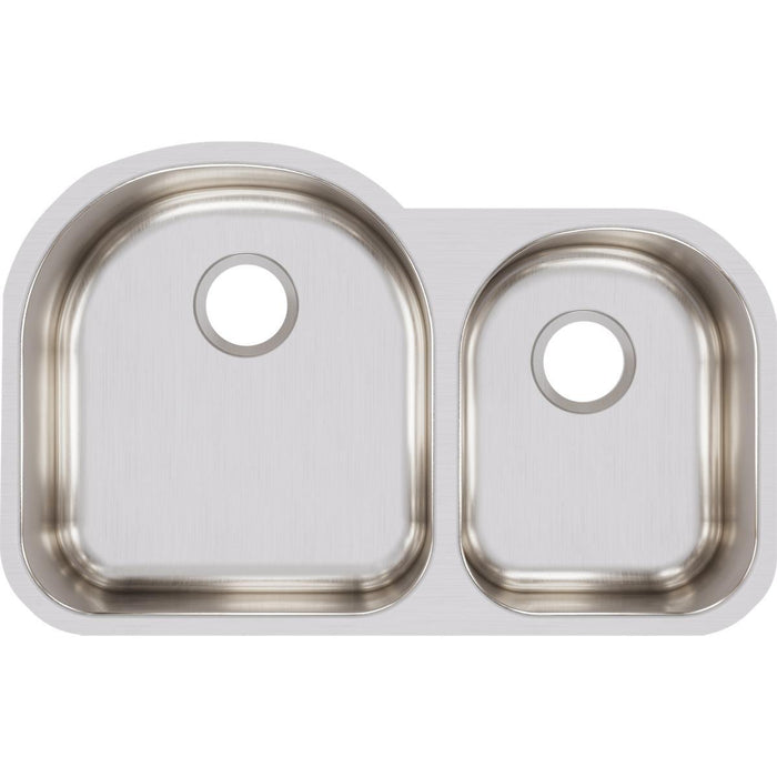 "Elkay Lustertone Classic Stainless Steel 31-1/4"" x 20"" x 7-1/2"", Offset 60/40 Double Bowl Undermount Sink-DirectSinks"