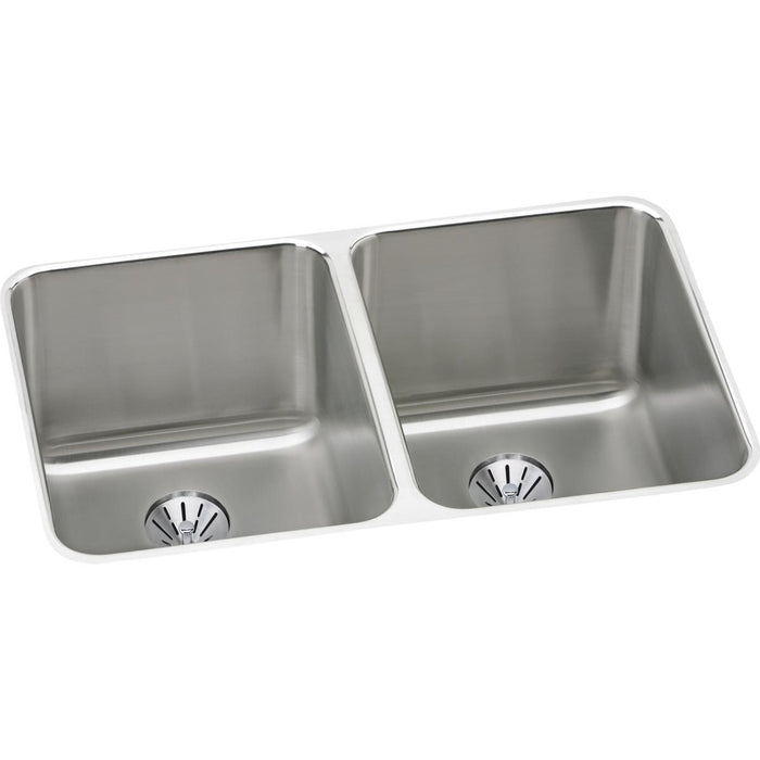 "Elkay Lustertone Classic Stainless Steel 31-1/4"" x 20"" x 9-7/8"", Double Bowl Undermount Sink with Perfect Drain-DirectSinks"