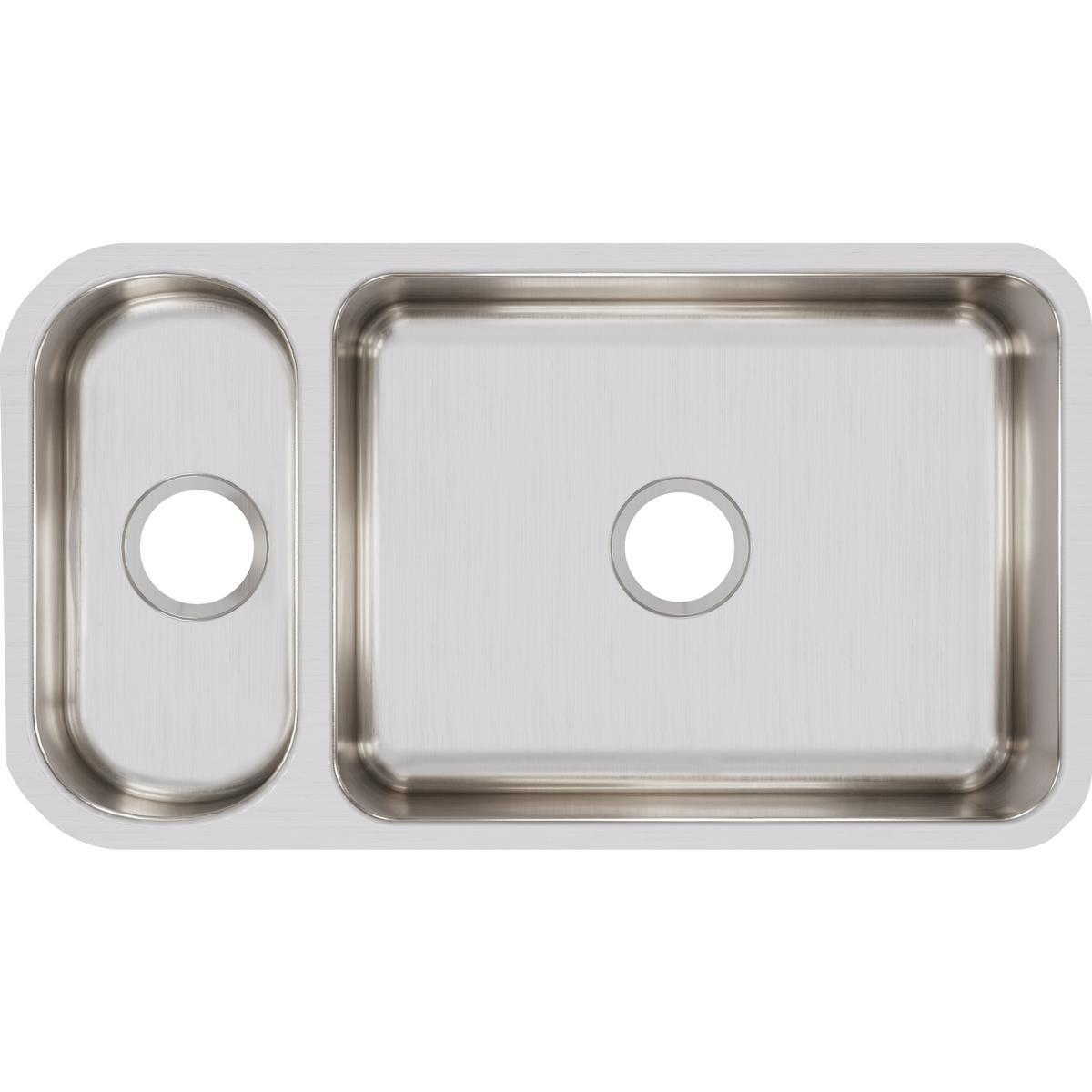 "Elkay Lustertone Classic Stainless Steel 32-1/4"" x 18-1/4"" x 7-3/4"", 30/70 Double Bowl Undermount Sink-DirectSinks"